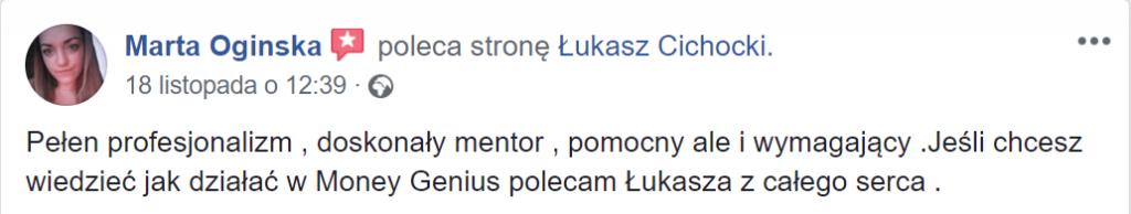 """""""Łukasz Cichocki to doskonały mentor, pomocny, ale i wymagający"""" ~ Marta Oginska"""