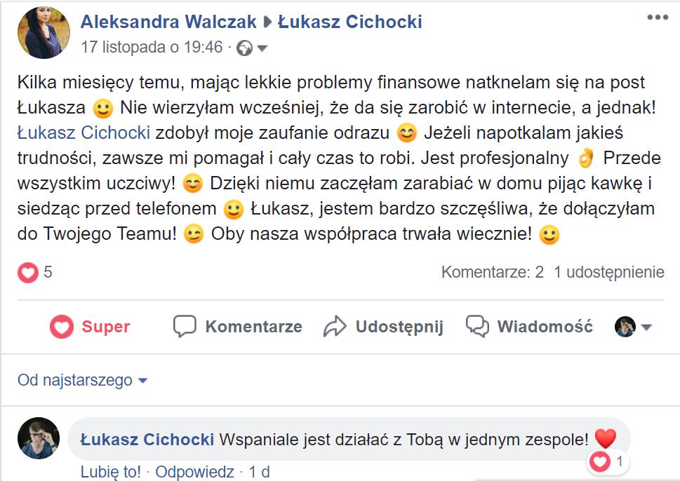 """""""Dzięki Łukaszowi Cichockiemu zaczęłam zarabiać w domu pijąc kawkę i siedząc przed telefonem"""" ~ Aleksandra Walczak"""