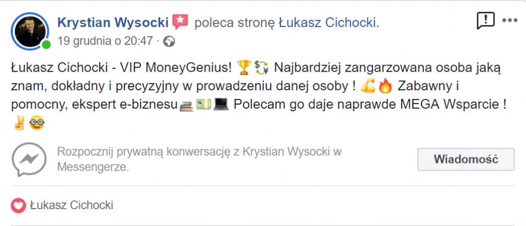 """""""Polecam Łukasza Cichockiego"""" ~ Krystian Wysocki"""