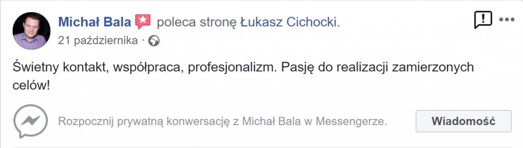 Michał Bala poleca Łukasza Cichockiego