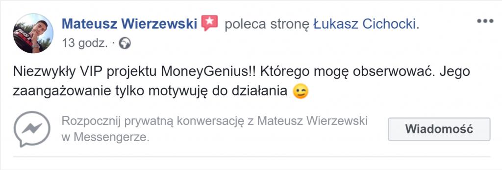 """""""Łukasz Cichocki to niezwykły VIP projektu MoneyGenius"""" ~ Mateusz Wierzewski"""