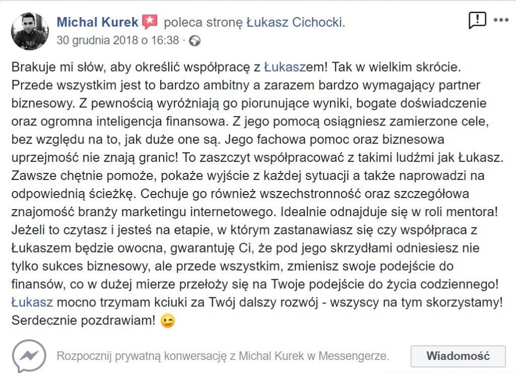 """""""To zaszczyt współpracować z takimi ludźmi jak Łukasz Cichocki"""" ~ Michał Kurek"""